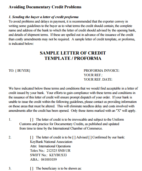letter of credit sample 10 sample letter of credit sample letters word 13420