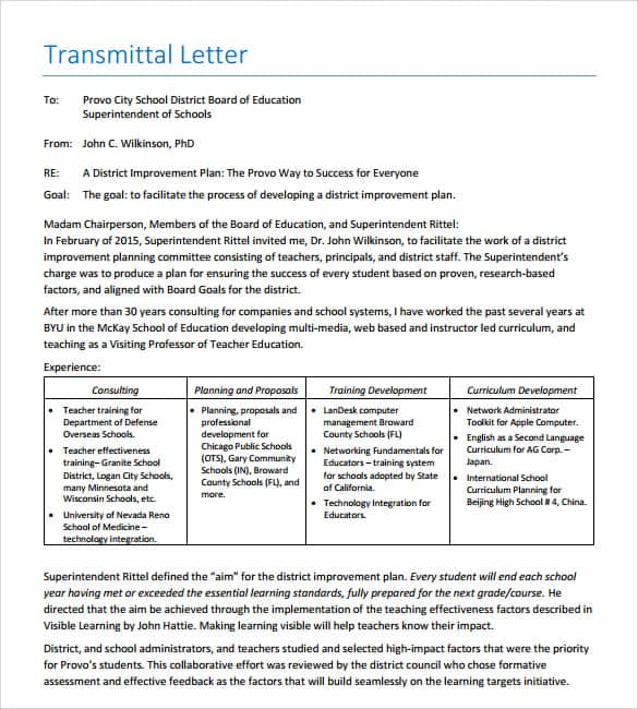 9 Letter Of Transmittal Samples Sample Letters Word – Sample of a Transmittal Letter