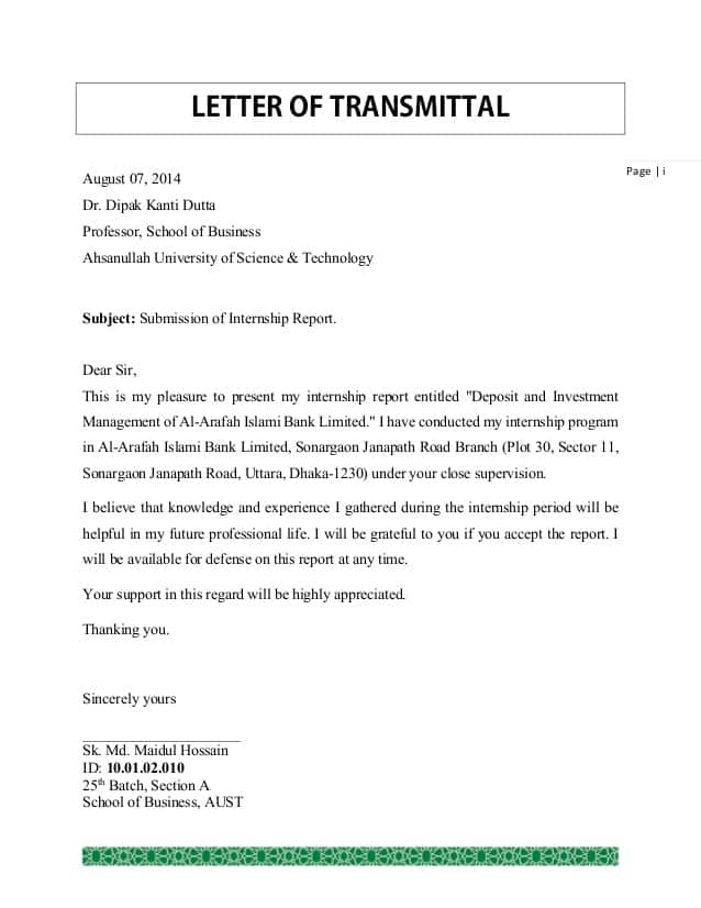 Transmittal Document Example Transmittal Letters Transmittal