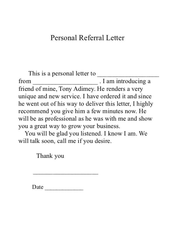 Sample Letters Word  Company Referral Letter
