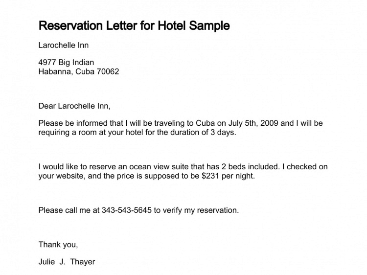 5 sample reservation letters sample letters word sample reservation letter 001 altavistaventures Gallery