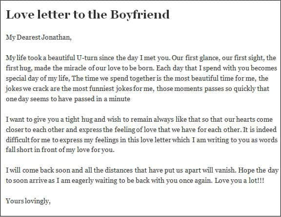 Sample of love letter for him