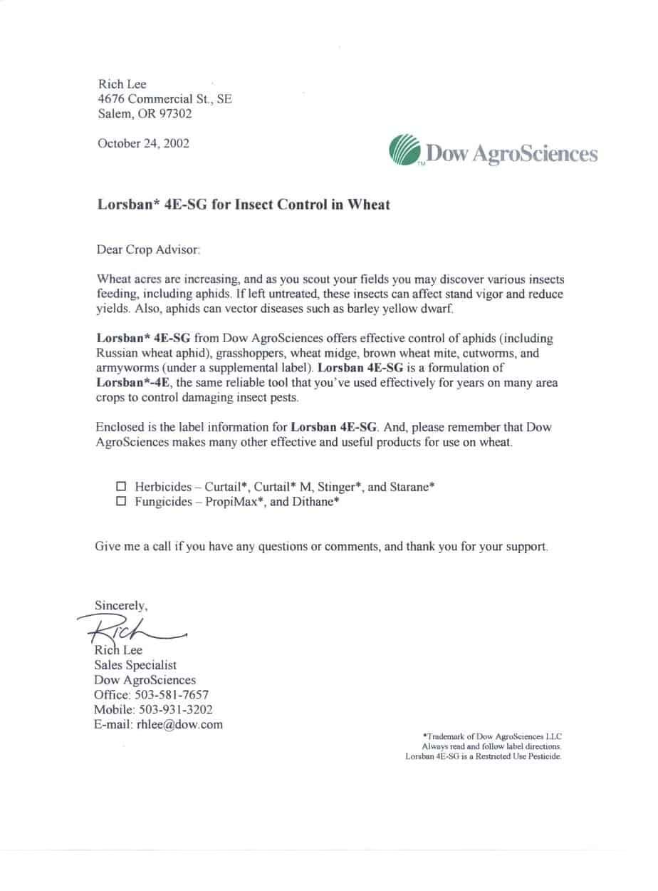 Sample Sales Letter 002.  Product Sales Letter Sample