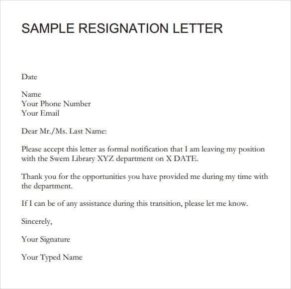 9 Resignation Letter Sample Writing Letters Formats