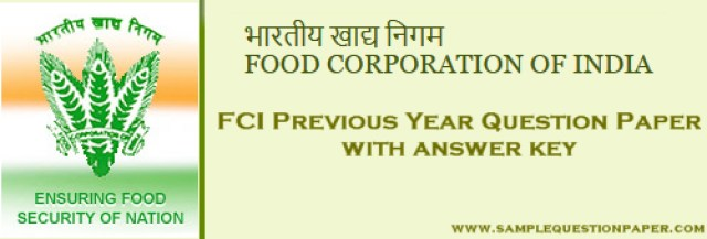 Download FCI Previous Year Question Papers with answer key for AG, JE & Typist