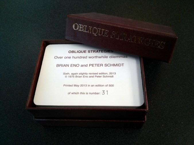 Doctorow, Cory. Oblique Strategies Deck, PO Box, The Barbican, London, UK. Photography, June 14, 2013. https://www.flickr.com/photos/doctorow/9041086636/.