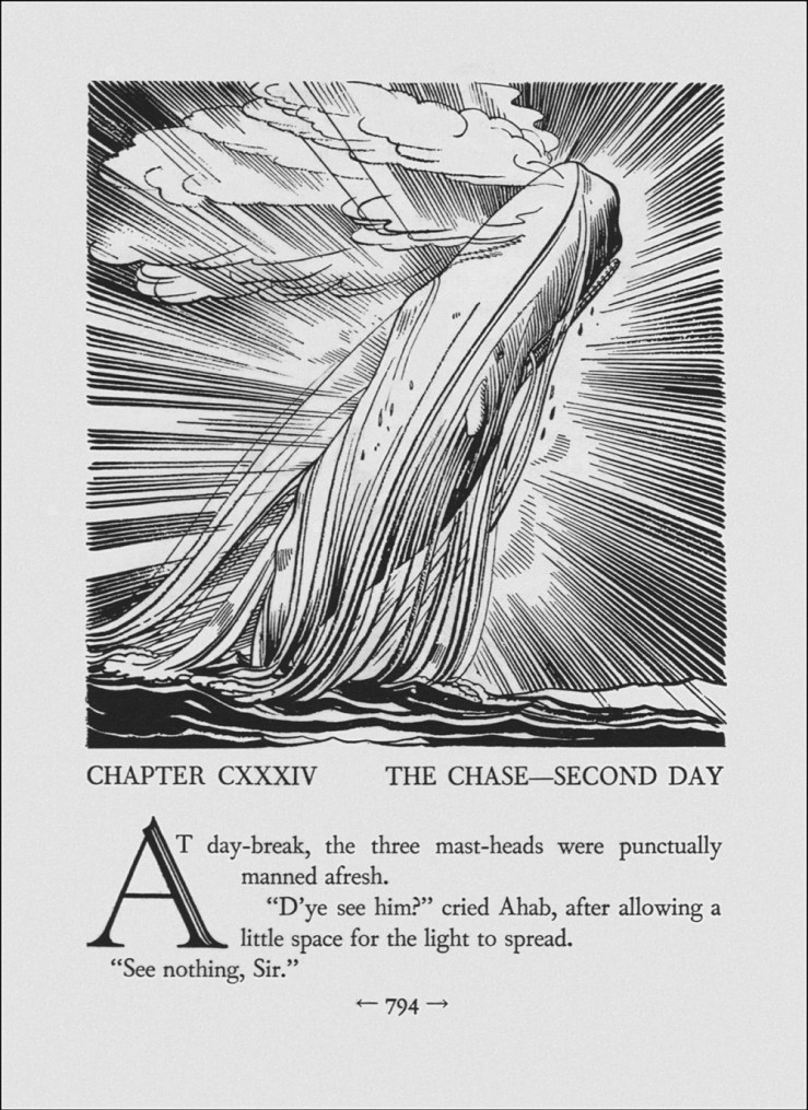 A whale breaching the ocean, illustration by Rockwell Kent