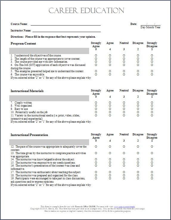 Evaluation Survey Template diagnosis and treatment of low back – Sample Training Survey