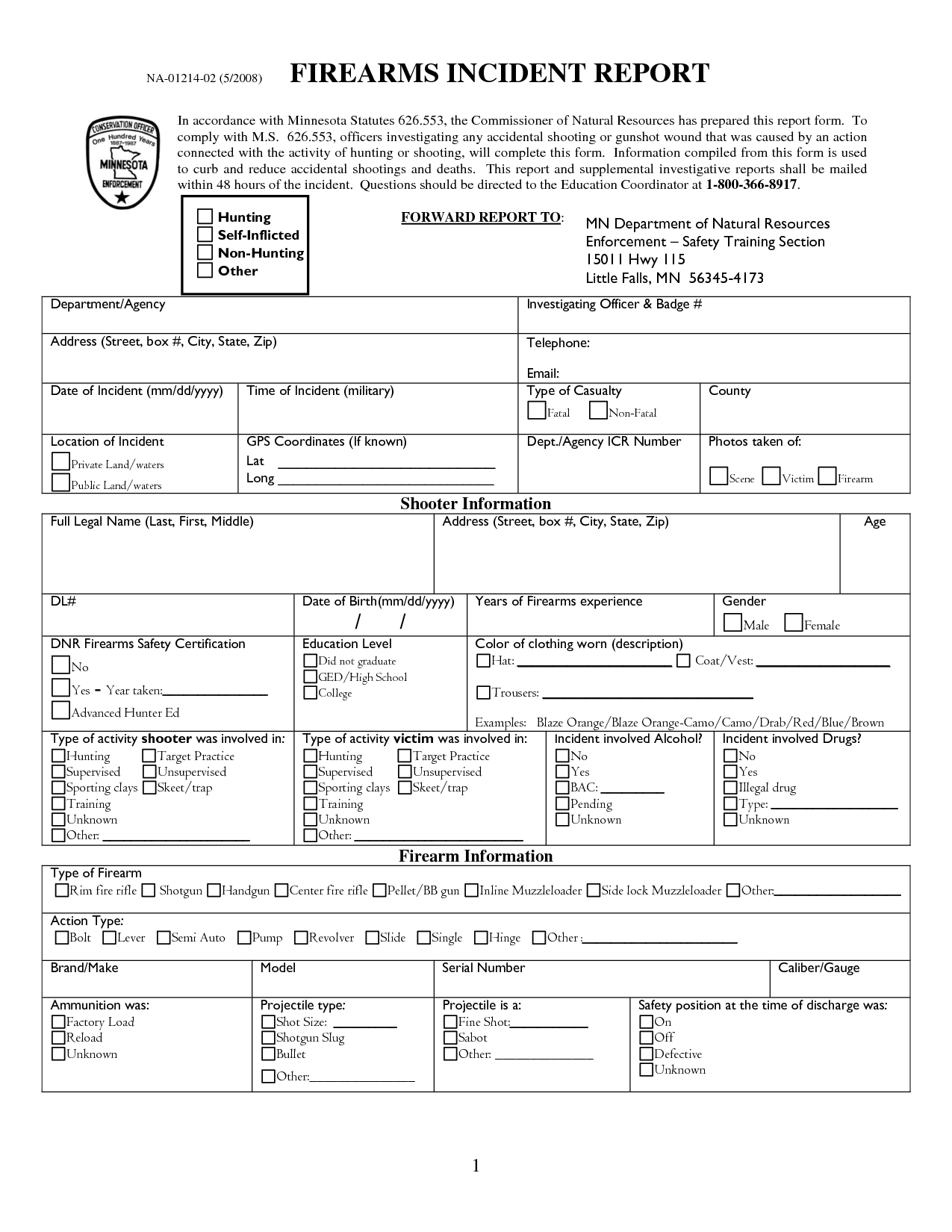 Police Incident Report Form Samples Printable