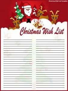 Christmas Wish List Template 226x300  Christmas List Template Free