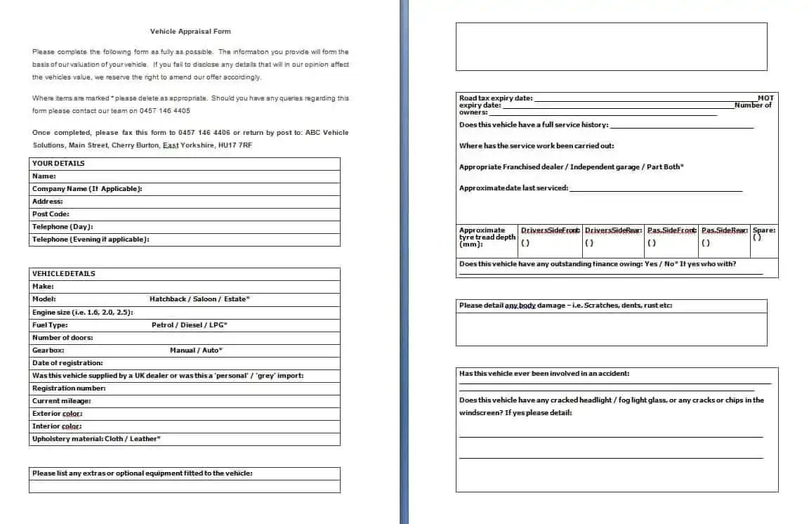 Vehicle Appraisal Form - Free Formats Excel Word
