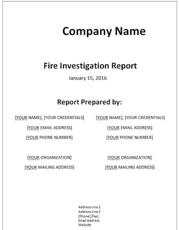 Investigation Report Template Word - Report template word