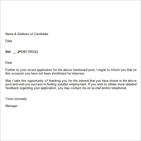Job Rejection Letter Response. business refusal letter sample ... job application response template employment application