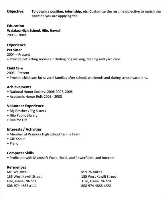 high school resume template 7 download free documents in pdf psd