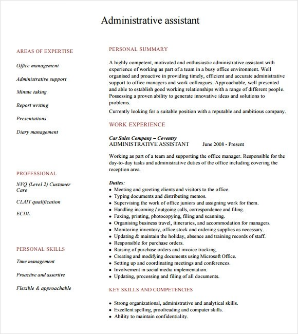 Administrative Resume Examples Free. Administrative Assistant