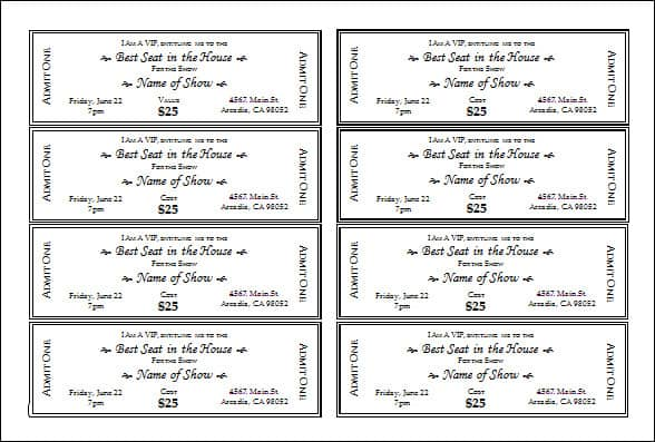 Tickets Template Word avery event ticket template raffle ticket – Airline Ticket Template Word