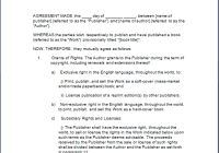 book publishing agreement template free sample templates