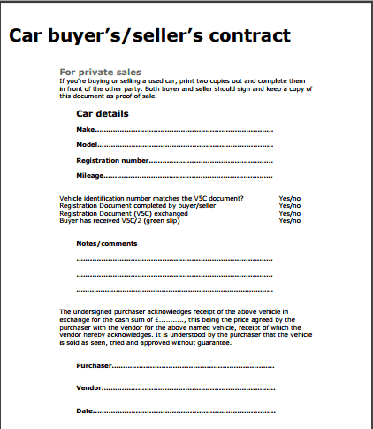 Used Car Sale Template. car sale contract form 5 free templates in ...