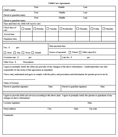 cleaning contract template free sample templates daycare medication form