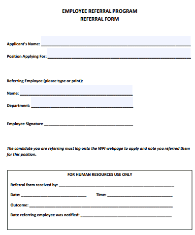 4 Employee Referral Form Templates