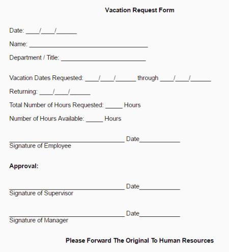 request form template vacation request form template and vacation – Vacation Request Form Sample