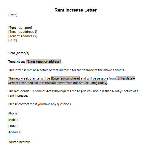 rent increase letter samples