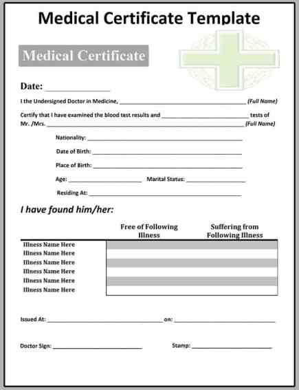 Sample Medical Certificate Template  Free Sample Templates