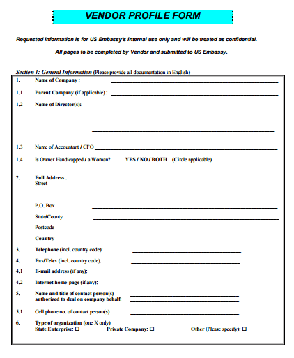 Vendor Forms Template for sample of questionnaire vendor forms – Vendor Form Template