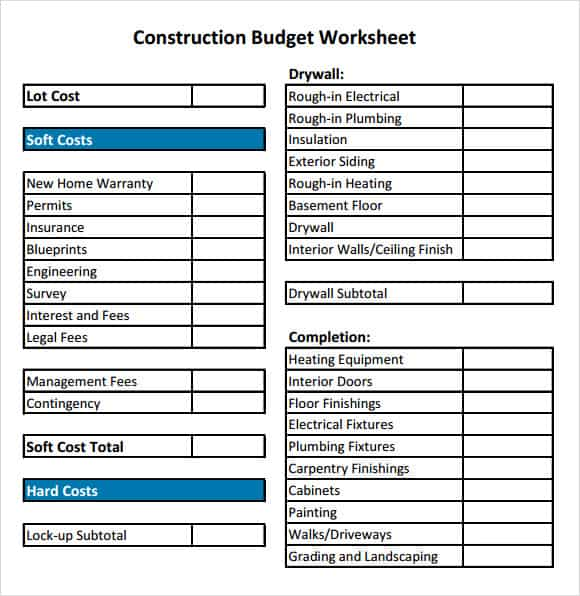 home construction budgets