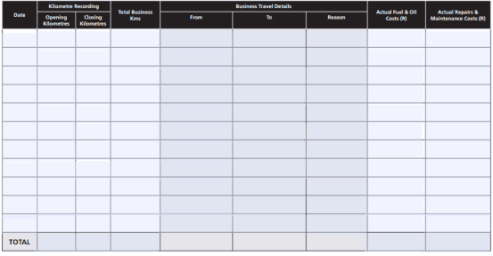 5 vehicle log book templates