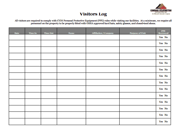 visitors log template 111