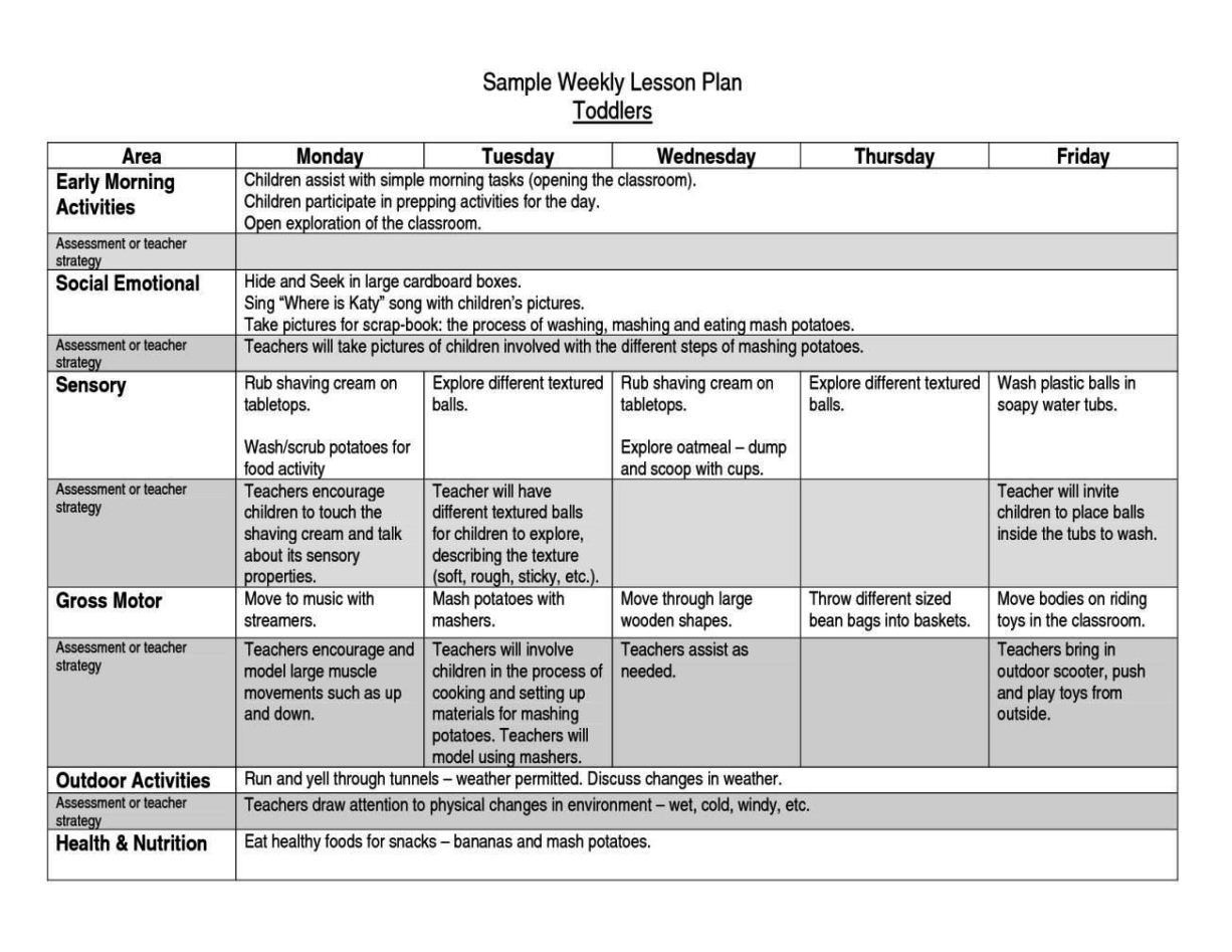 After School Lesson Plan Template