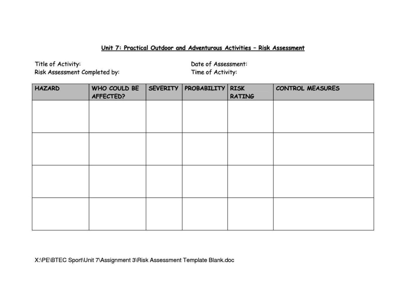 Classroom Risk Assessment Template
