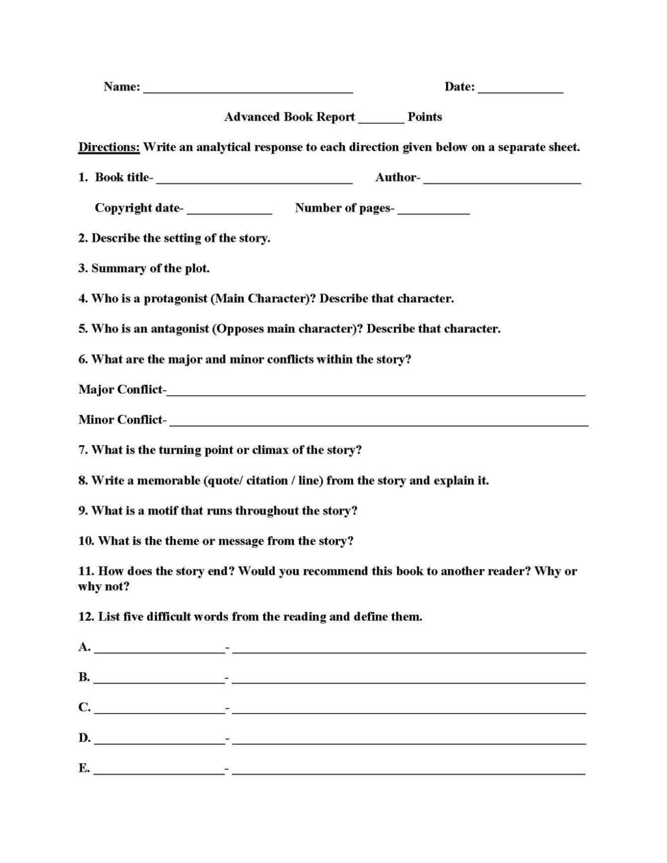 Grade 3 Book Report Template
