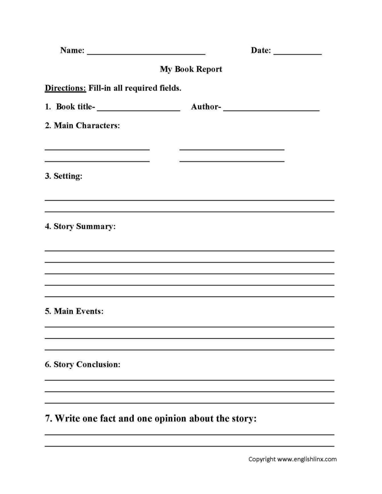 Student Book Review Template