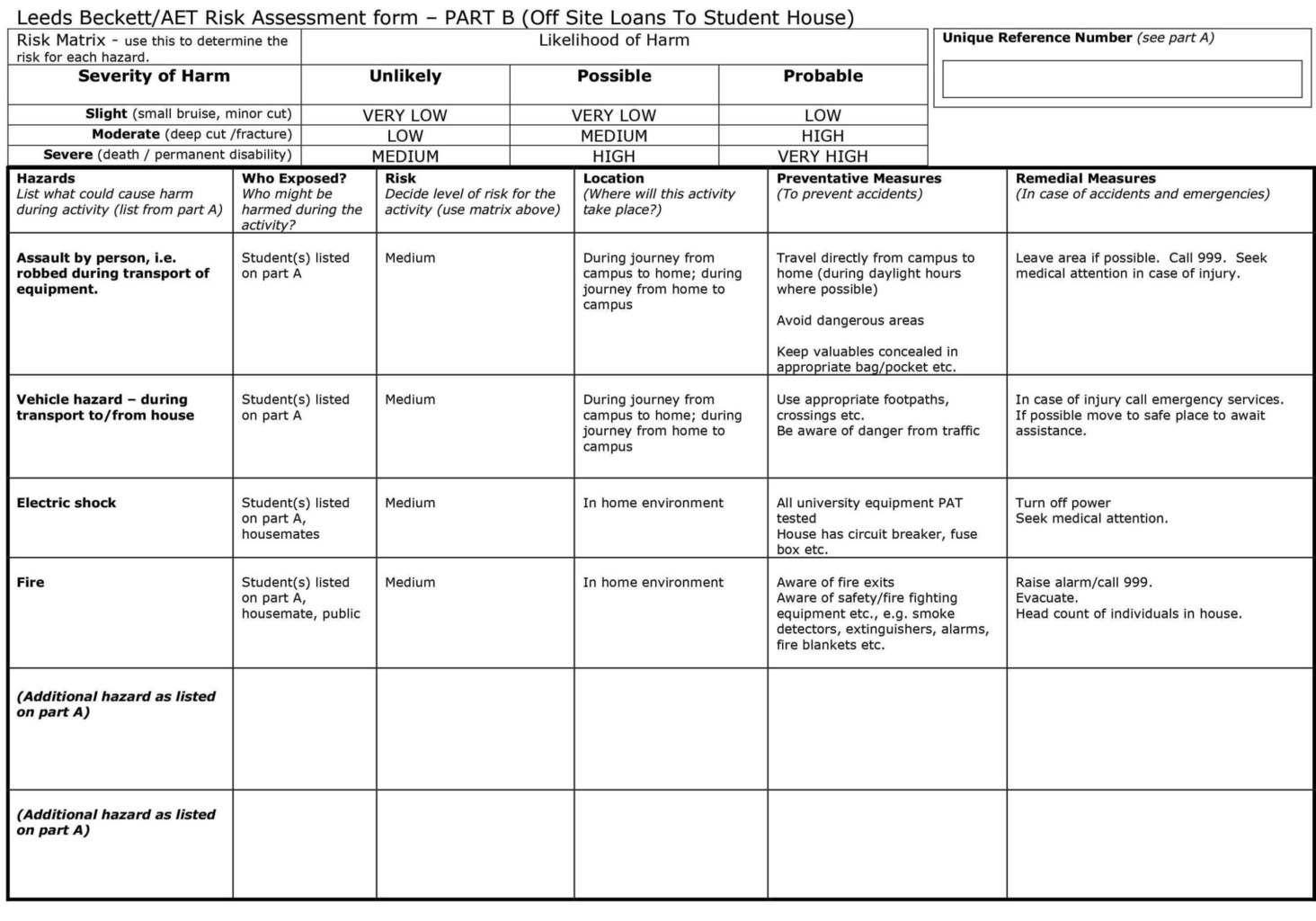 Student Risk Assessment Template
