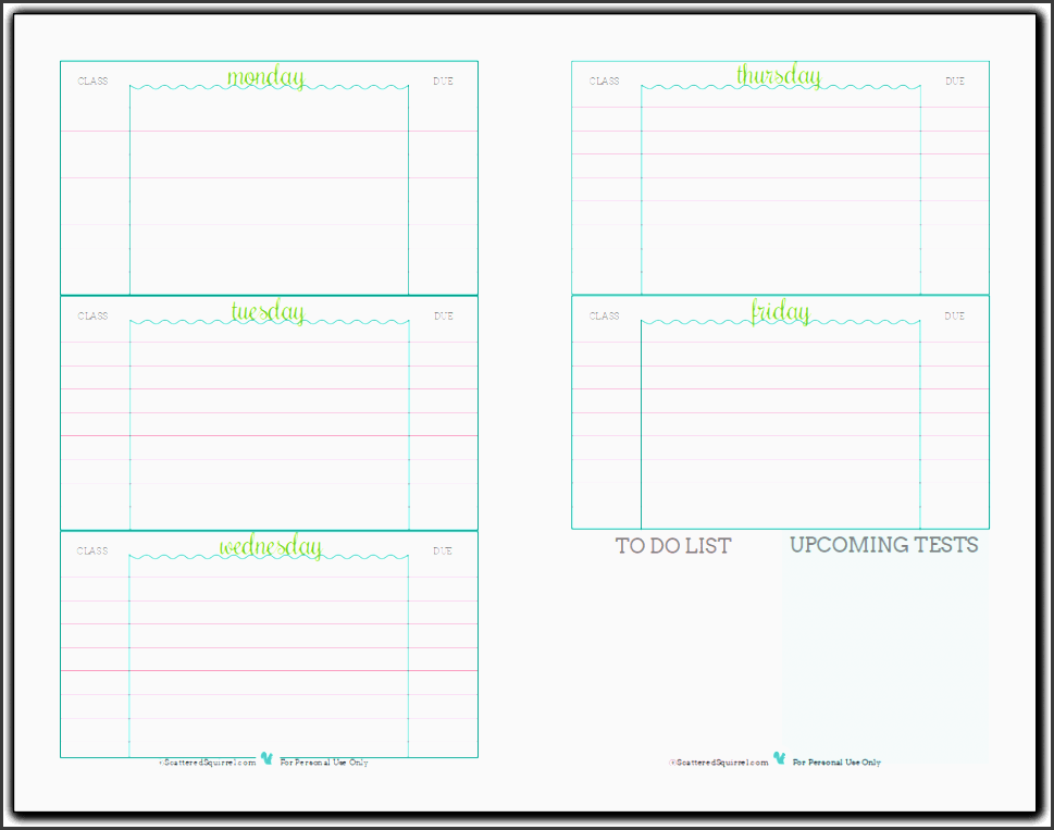 Daily School Schedule Template Printable