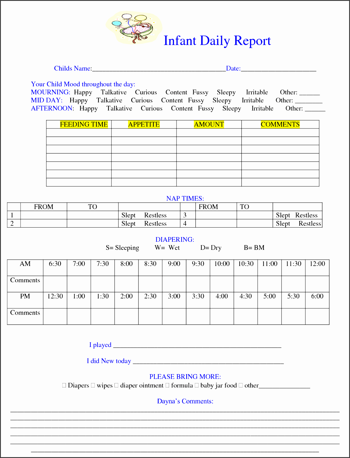 8 Blank Daily Report Template