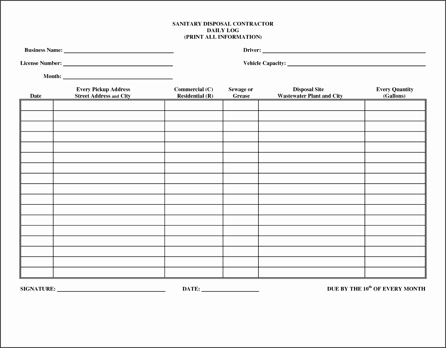 weekly cleaning log template blank
