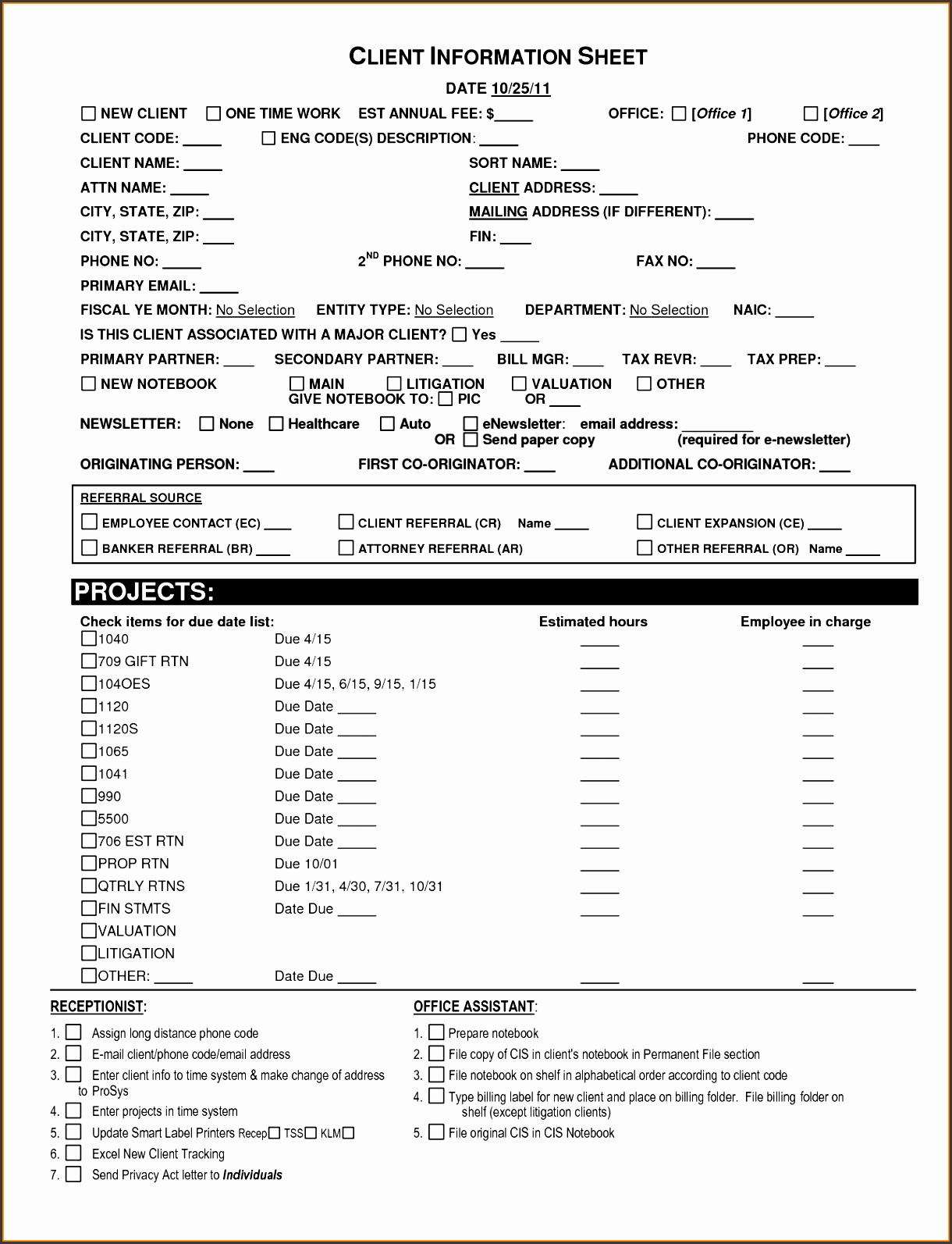 6 Client Information Sheet Templates