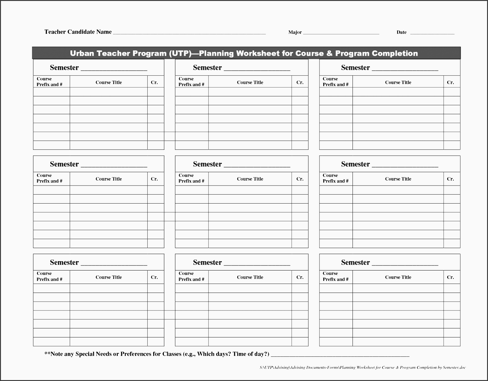 9 College Credit Planner Template