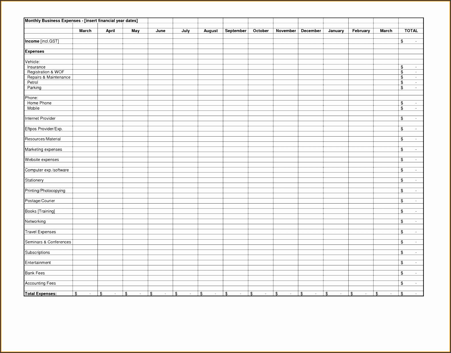 9 Expense Sheet Template