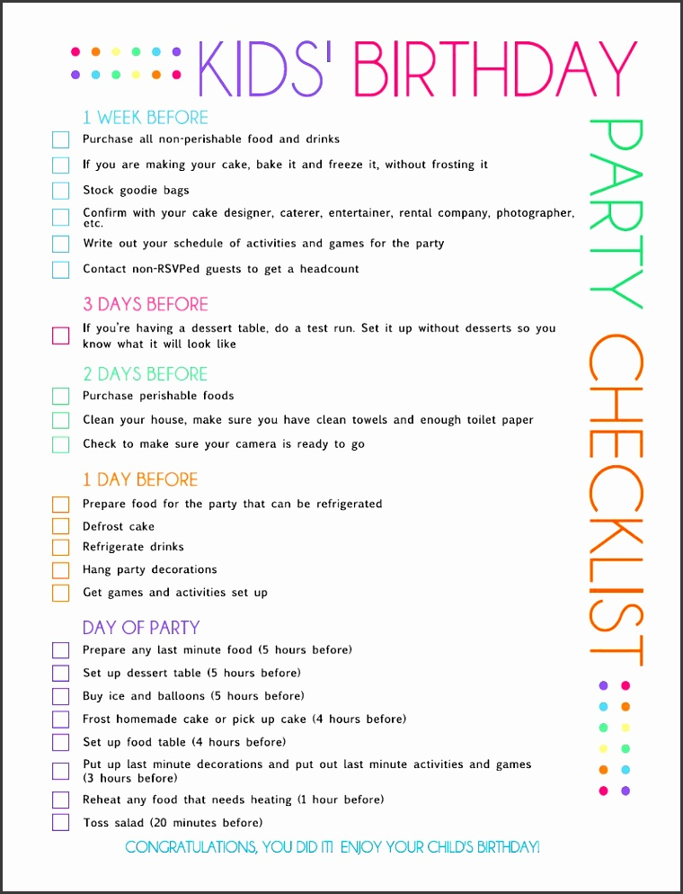 graduation party checklist template - food list for graduation party