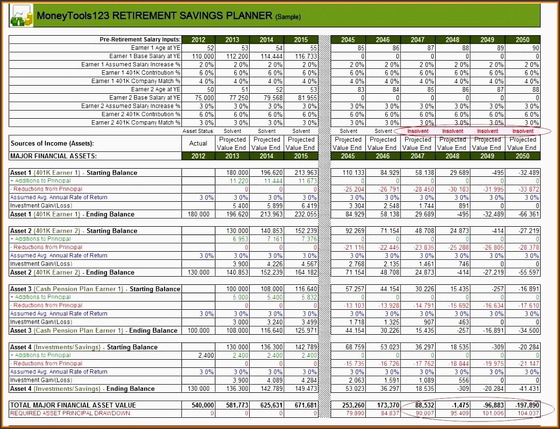 7 Retirement Planner Spreadsheet Excel Format