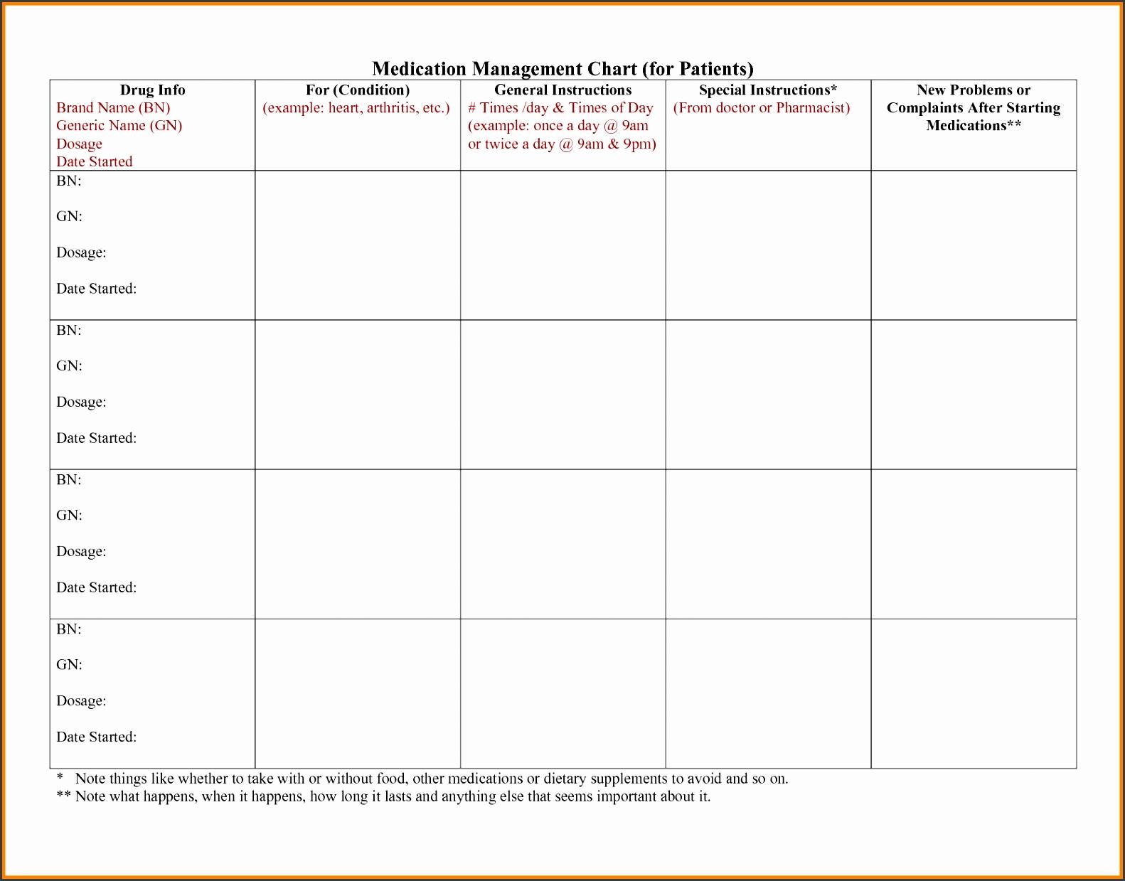 7 Medication Chart Template