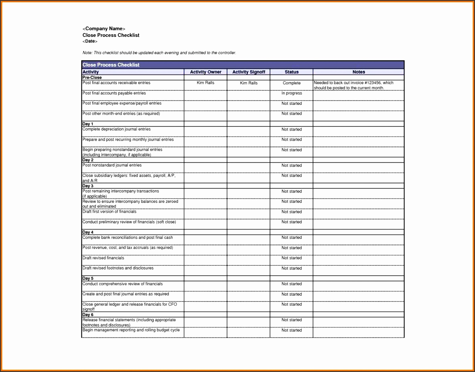 5 Microsoft Office Checklist Template