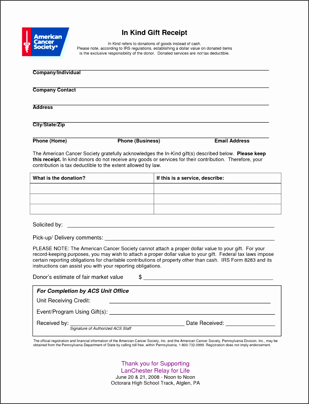6 Tax Donation Receipt Template