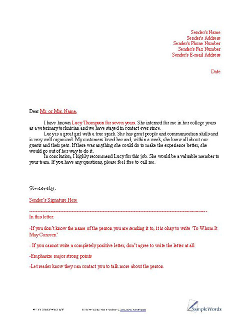 Layout For Job References sample layout for letter of reference – Reference for Job Template
