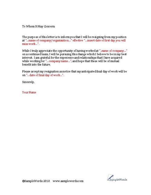 Resignation Letter Microsoft Word 2007 | Docoments Ojazlink