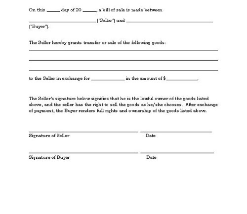 Basic Bill Of Sale Template Printable Blank Form